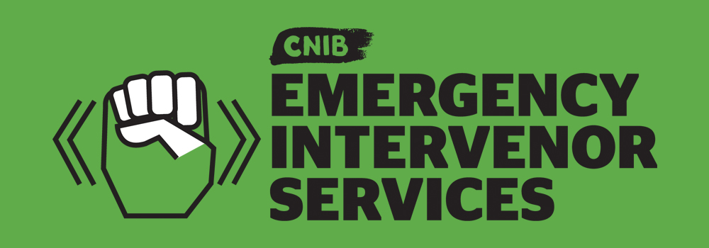 """Icon of a hand doing the sign for emergency and """"CNIB Emergency Intervenor Services""""."""