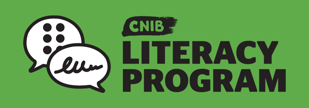 """Icon of two speech bubbles-one with braille and one with imitated text-and """"CNIB Literacy Program""""."""